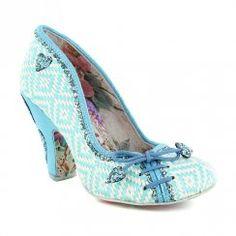 Irregular Choice Flexi Lexi 4135-17A Womens High Heel Court Shoes - Blue & White