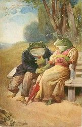 two dressed frogs hold hands seated on bench