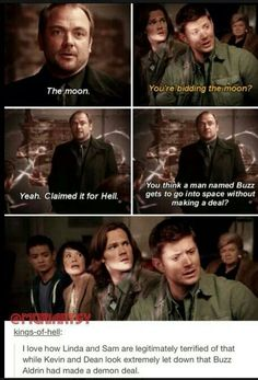 If you don't watch Supernatural, you wouldn't know about all this very important information. Supernatural Series, Supernatural Quotes, Supernatural Outfits, Destiel, Buzz Lightyear, Misha Collins, Dean Winchester, Winchester Brothers, Jensen Ackles
