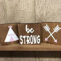 Be Strong  Tribe/Boho inspired wood accent block/tile trio