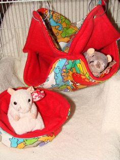 Very colorful Dino rattie bed set.  Includes a 2 Tier Honeycomb hammock and a nice cuddle cup.  The outside of flannel and the inside is soft comfy red fleece.  Just $12 plus actual shipping.