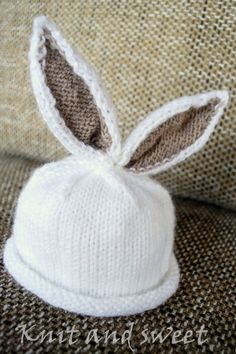 Handmade knit baby bunny hat, Easter bunny, infant photography prop, new born photo session
