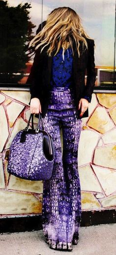 Roberto Cavalli purple snakeskin trousers & Louis Vuitton sequined wool and leather bag