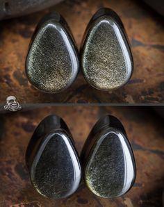 Golden obsidian teardrop plugs