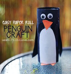 Paper Roll Penguin Craft | LearnCreateLove.com (Antarctica theme)