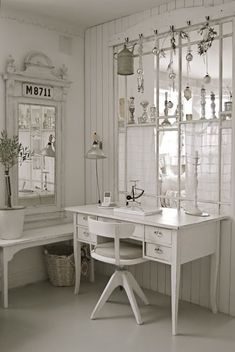 Shabby chic office..I would never get any work done but it would be a great  place to sit and PIN all I want to :)