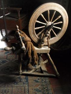 .Early Spinning Wheel--This is very close to my spinning wheel.  I love the smaller, more compact, type spinning wheels like this one.  So much easier to find a nice spot for them