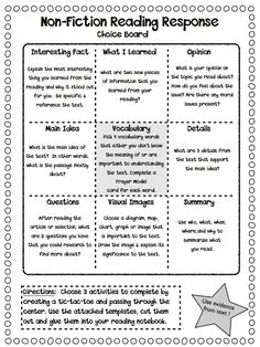Non-Fiction Reading Response Choice Boards...great piece to add to my livrary or writing station