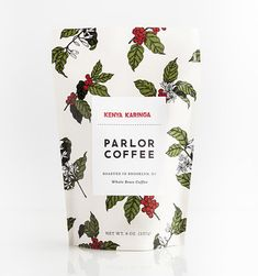 Floral coffee packaging. A small colour palette and simple design that draws the customers attention.