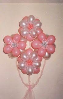 """""""Ideas, locuras y creaciones"""": Lindos arreglos con globos en forma de  flores globos rosa blanco nacar +++ PINK WHITE FLOWER BALLOON PARTY DECOR WEDDING QUINCEANERA"""