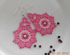 Pink earrings tatted earrings tatting by TattingLaceJewellery $15