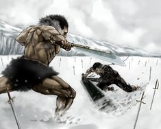 BERSERK (Kentaro Miura), Zodd, Guts, Mountains, Huge Weapon, Fighting