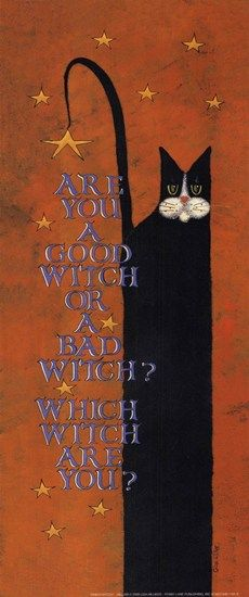 Halloween cat art print called Which Witch by Lisa Hilliker. Which witch are you? A good witch or a bad witch? Halloween Signs, Halloween Pictures, Holidays Halloween, Spooky Halloween, Vintage Halloween, Happy Halloween, Halloween Stuff, Witch Pictures, Halloween Projects