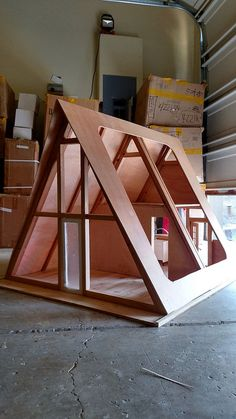 I have the basic shell completed now, the structure consists of 6 pieces that just push together, no nails, screws or glue will be needed for assembly by the customer. A Frame House Plans, A Frame Cabin, Simple Workbench Plans, Cabin Dollhouse, Farm Layout, Diy Barbie Furniture, Doll House Crafts, Tiny House Cabin, Small House Design