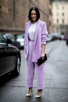 A Bold matching pantsuit in a classic spring color