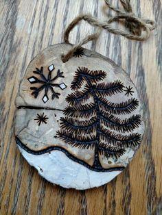 Rustic Snowy pine tree wood burned Christmas ornament - natural wood