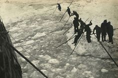 Rafting astern brash ice made by the 'Endurance' in efforts to break free, during the Imperial Trans-Antarctic Expedition, 1914-17, led by Ernest Shackleton.