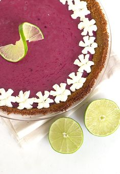 Blackberry Key Lime Pie - Sweet and Tart Twist on a classic Key Lime Pie. It's creamy and gorgeous to look at.: Blackberry Key Lime Pie - Sweet and Tart Twist on a classic Key Lime Pie. It's creamy and gorgeous to look at.
