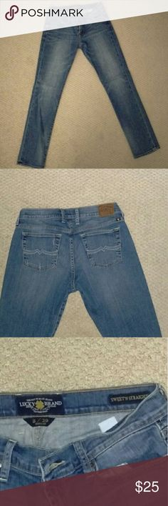 Lucky jeans Straight cut, light washed jeans. Mid waist- approximately 2 inches below belly button. Worn a handful of times, in perfect condition!! Lucky Brand Jeans Straight Leg