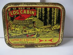 """""""LOG CABIN"""" Tobacco tin (not hinged)..today (1.12.13) I saw a circular tin with this exact logo in an antique shop…the memories were so intense and strong I could smell  the tobacco and was reduced to tears…I had to leave the shop….childhood memories….that tobacco aroma was warm and comforting and stayed with me for quite awhile.."""