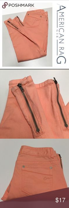 """American Rag Skinny Jeans Peach Zippers Size 5 These have only been worn once. Marked size 5. Have Zippers on the side of ankles. Peach or light coral color. Not sure if these are ankle length. Please compare measurements with something you own. Waist measures 33"""" inches. Inseam 27.5"""" inches. 8.25"""" rise. Ankle opening 11"""" inches in circumference. American Rag Jeans Skinny"""