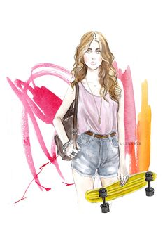 artwork by Lena Ker: Skater girl!