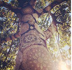 crochet doily tree