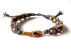 Purple Macrame Bracelet with SemiPrecious Stones by EarthCultured, $20.00