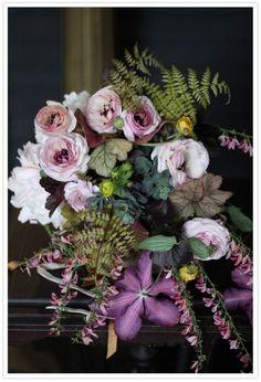 Wedding Ideas: purple-flower-green-fern-wedding-centerpiece