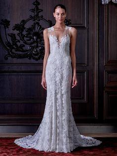 Monique Lhuillier silk V-neck lace applique wedding dress from Spring 2016