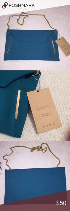 Zara envelope bag Can be carried on the shoulder or tick away the light gold strap in the bag to use as cloth. New with tags! Teal blue suede Zara Bags Clutches & Wristlets