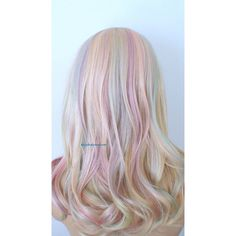 Pastel Wig Rainbow Wig Blonde Pastel Color Wig One of Kind Pastel... (300 CHF) ❤ liked on Polyvore featuring bath & beauty, hair care, silver and wigs