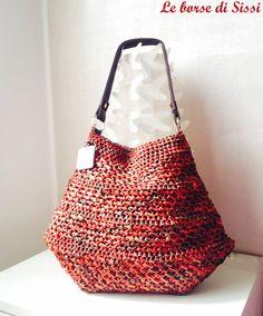 Borsa crochet in rafia melange color ruggine, grande borsa all'uncinetto estiva