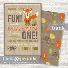 Printable Woodland First Birthday Party by HankandPetunia on Etsy, $15.00