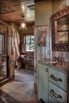 Rustic beauty Rustic Bathrooms, Dream Bathrooms, Beautiful Bathrooms, Log Cabin Bathrooms, Log Cabin Kitchens, Modern Bathroom, Cabin Bathroom Decor, Bathrooms Online, Western Bathrooms