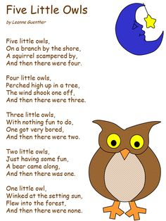 Five clipart little owl - pin to your gallery. Explore what was found for the five clipart little owl Owl Preschool, Preschool Poems, Preschool Music, Preschool Lessons, November Preschool Themes, Songs For Toddlers, Kids Songs, Birds Of Prey, Owl Activities