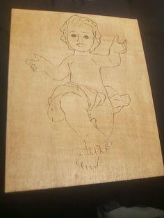 quadro in legno Gesù Bambino pirografato e verniciato in noce.22x27x0,5cm. Ebay, Art, Art Background, Kunst, Performing Arts
