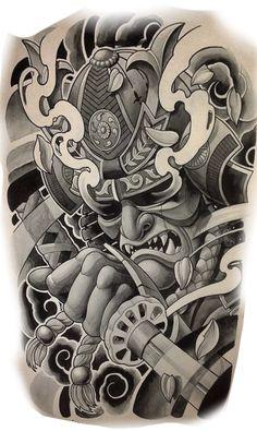 Japanese Warrior Tattoo, Japanese Snake Tattoo, Japanese Dragon Tattoos, Japanese Tattoo Designs, Japanese Sleeve Tattoos, Samurai Tattoo Sleeve, Samurai Warrior Tattoo, Warrior Tattoos, Tatuaje Grim Reaper