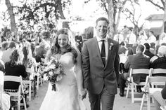Bride and Groom Ceremony Exit Just Married Black and White Photo | Lakeside-Pavilion-Wedding-Photographer-Chico-Wedding-Photography-TréCreative