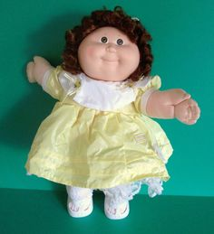 Cabbage Patch Girl Doll 1987 Cornsilk Auburn Hair Brown Eyes Yellow Party Dress #Coleco #DollswithClothingAccessories