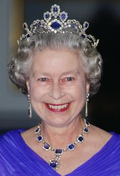 Originally Queen Elizabeth II's sapphire tiara was a sapphire necklace way back in 1902 - 1907; and worn by Princess Louise Saxe-Coburg-Gotha, Princess of Belgium. Under a cloud the necklace, and many other Belgian royal jewels were sold off. See previous pin of Princess Louise wearing the sapphire necklace.http://www.pinterest.com/pin/532972937125839231/
