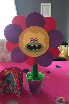 Check out this fun and colorful Trolls birthday party! Love the party decorations! See more party ideas and share yours at CatchMyParty.com Trolls Birthday Party, Troll Party, Girl Birthday, Birthday Parties, Party Centerpieces, Garland, Bridal Shower, Birthdays, Banner