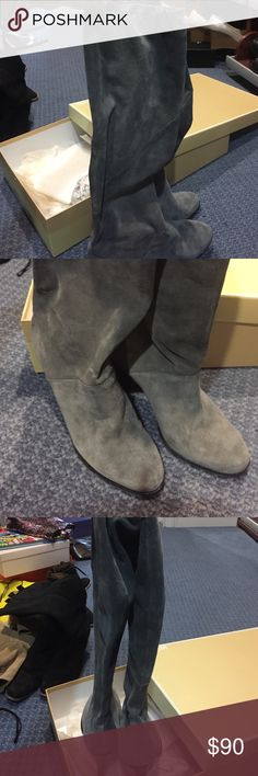 Michael Michael kors grey boot. Knee high Grey suede knee high boot in great condition. Only sole of shoe looks worn. Comes with original box. Btw. Very comfortable MICHAEL Michael Kors Shoes Over the Knee Boots