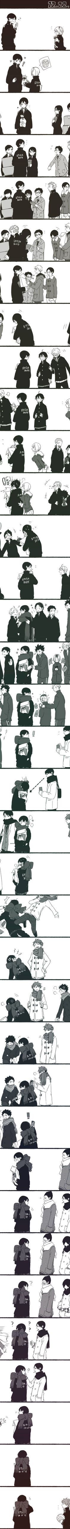 Kageyama's birthday - Haikyuu I don't know why I love this so much. Hinata looks partly dejected and partly confused.