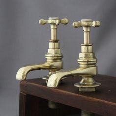 Pair Brass Antique Edwardian Taps
