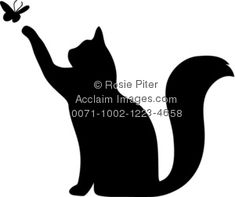Clipart Illustration of a Silhouette of a Cat Playing With a Butterfly