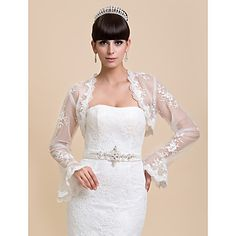 Wedding  Wraps Coats/Jackets Long Sleeve Lace White Wedding / Party/Evening / Casual Bell Sleeves Open Front – GBP £ 16.39