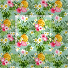 Tropical Pink Floral Pineapple Watercolor Fabric