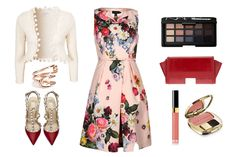 Un vestido floral es el centro de atención de este Look Lucky Deavon, combinado con unos increíbles tacones rojos y beige y un cardigan haciendo juego. Para completar el look, no puede faltar un lindo clutch rojo, un accesorio como un brazalete y el infaltable maquillaje para lucir fabulosa. #look #imfashion #moda
