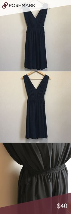 "Anthropologie HD in Paris Lavana Dress A Grecian-goddess style dress, light and flowy, V-neck front and back, tie at waist. Shoulder to hem approx 38"", armpit to armpit approx 17"" lay flat. Gently worn in very good condition.   The dress did not come with a slip. Anthropologie Dresses Midi"